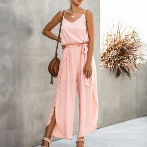COMING PINK EMPIRE WAIST JUMPSUIT HAREM PANTS